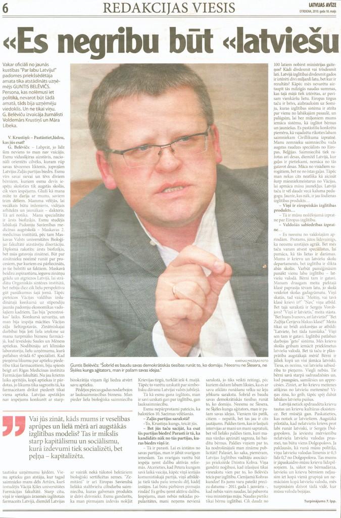 """""""Latvijas avīze"""" 2010.gada 18.maijs, 6.lpp"""