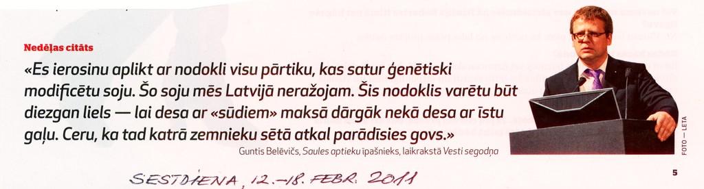 """""""Sestdiena"""", 2011.gada 12. februāris"""