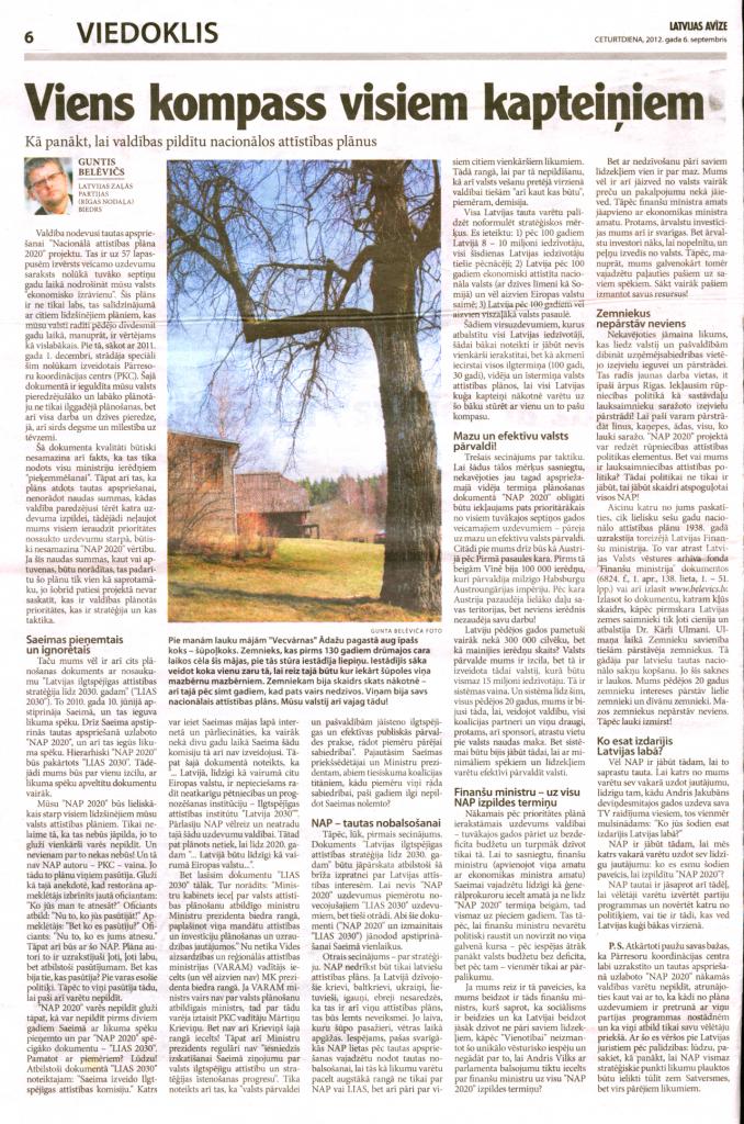 Latvijas avīze, 2012. gada 6. septembrī