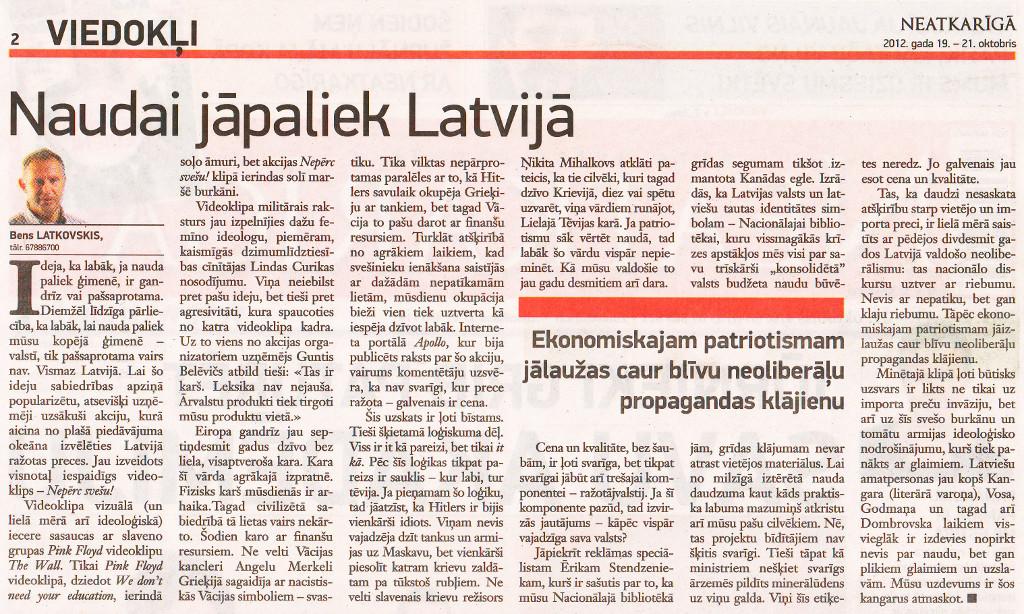 """""""Neatkarīgā"""", Viedokļi, 19.10.2012."""