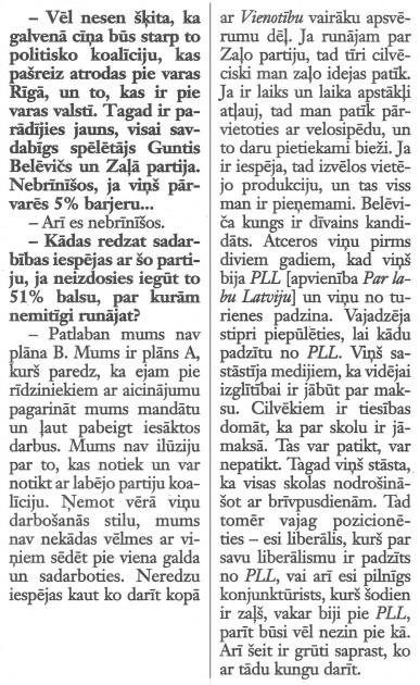 """Neatkarīgā, 2013.gada 26.-28.aprīlis, fragments no raksta """"Ušakovs: Neredzu iespēju kaut ko darīt kopā ar Vienotību"""""""